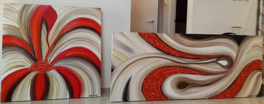 גלריית ציורים, ציורי אוירה, ציורי אווירה, לסלון, ציורים לסלון מודרני, ציור פרחים
