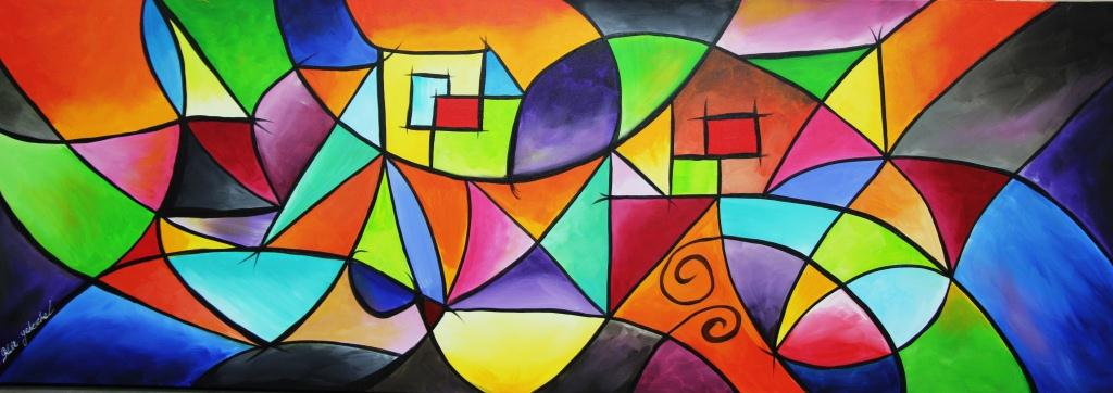 ציור לסלון מודרני, ציור אוירה צבעוני