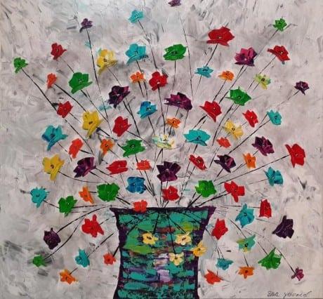 ציור פרחים צבעוניים