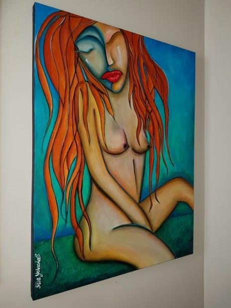 אישה עירומה, ציור צבעוני אישה