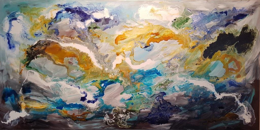 ציור מרשים בגודל 200/100 , הציור מצוייר בטכניקות משולבות , הכוללות בליטות מעל פני הבד. הציור מכוסה בגלוס מבריק המעניק לציור יופי ויוקרה .