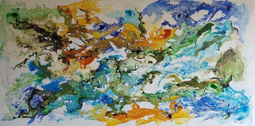 ציור בצבעי הטבע על רקע לבן , ציור מרגיע מעניין ונעים לכל חלל בו יתלה. גימור הציור בגלוס מבריק, המעניק לציור יופי ויוקרה.
