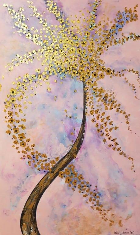 הציור מצויר בשפכטלים, כל הבליטות ובמיוחד בליטות הפרחים יוצרים אפקט של תלת מימד, סיום הציור בגלוס מבריק המותז על הפרחים גורמים לציור יופי צבעוניות ויוקרתיות.