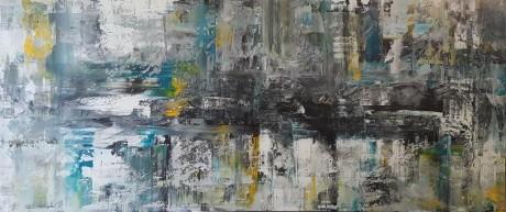 ציור ענק , המצויר בשפכטלים , טכניקה מחודשת עם תחושת יוקרה שלווה ויופי .