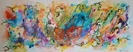 ציור צבעוני שמח ומהמם , מייפה כל פינה בה ייתלה, בציור בליטות מעוגלות , הנותנות תחושה של תלת מיימד. מומלץ,,