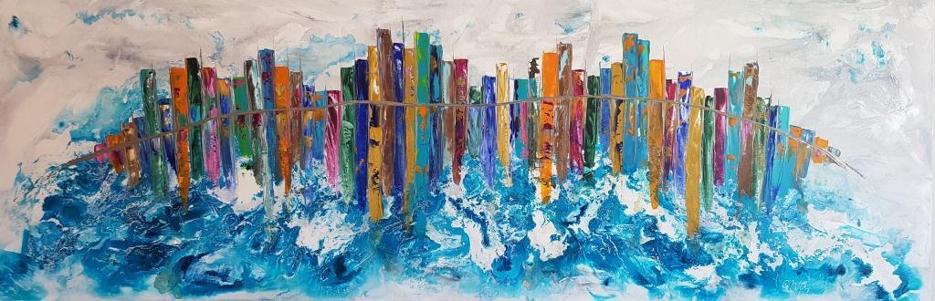 ציור בתים, השתקפות, ציור עיר משתקפת, ריבה יחזקאל, abstract painting, ציורי אוירה, תמונות לסלון מודרני