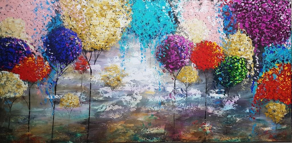 ציור מהפנט ויפיפה, כל עלי העצים בולטים מעל לבד , קרקע היער מצוירת בצבעים שקופים ומתחלפים... קסום ...