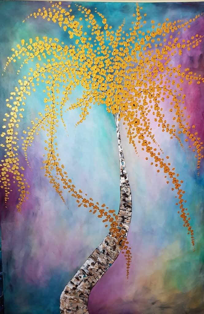 ציור ענק, ומרשים בגודלו, הפרחים מצוירים בשפכטלים, בליטות הפרחים יוצרים אפקט של תלת מימד, רקע הציור מהמם ביופיו .