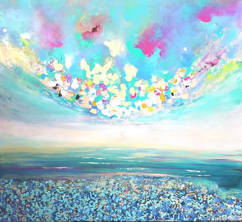 הציור מצויר בשפכטלים, כל הים והשמים בולטים עם צבע מעל לבד, ציור מיוחד וקסום, משרה אוירה מרגיעה וצבעונית.