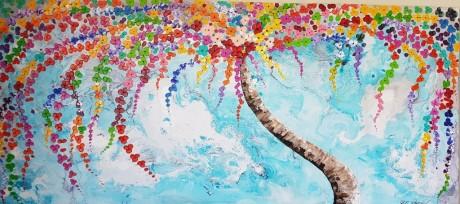 ציור אוירה בטורקיז, ריבה יחזקאל, ציורי אוירה לסלון מודרני, abstract painting, abstract art, ציור מופשט, גלרייה, ציורים
