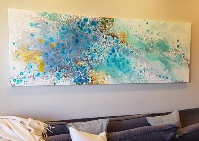 ציור אוירה ריבה יחזקאל, ציור צבעוני, abstract art, ציורים לסלון מודרני, ציור בהתאמה אישית, ציור ענק, ציור גלקסיה