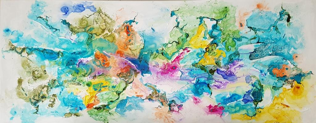 ציור אוירה ריבה יחזקאל, ציור צבעוני, abstract art, ציור לסלון מודרני, ציור בהתאמה אישית, ציור ענק, ציור יוקרתי