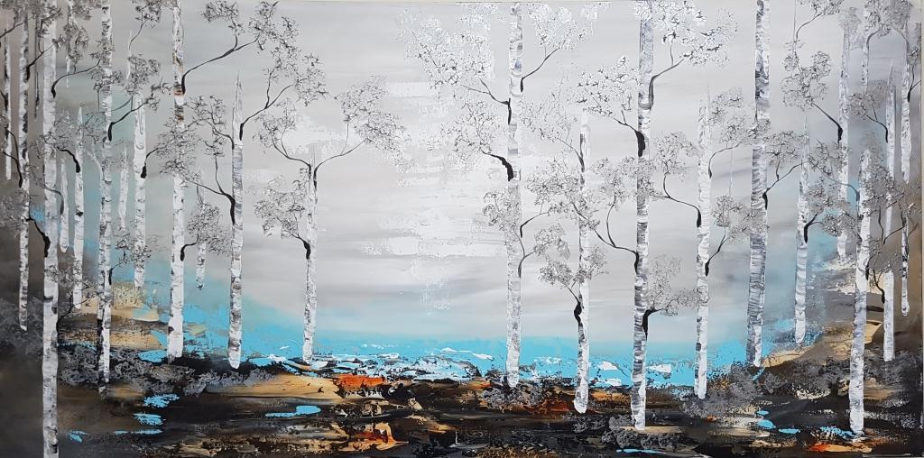 ציור אוירה ריבה יחזקאל, ציור היער הכסוףabstract art, ציורים לסלון מודרני, ציור בהתאמה אישית, ציור ענק, ציור גלקסיה