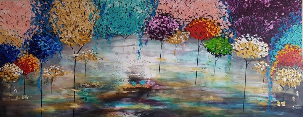 ציור לסלון מודרני, ציורים לסלון, ציור היער הקסום, ריבה יחזקאל ציירת, גלריית ציורים, אבסטרקט, abstract painting