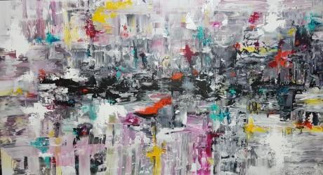 ציור אוירה ריבה יחזקאל, ציור צבעוני, abstract art, ציורים לסלון מודרני, ציור בהתאמה אישית, ציור ענק, ציור שפכטלים, modern art
