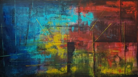 abstract painting, ציור אוירה לסלון מודרני, ריבה יחזקאל ציורים, ציור באדום כחול צהוב, אבסטרקט, ציורים מופשטים, ציורי אבסטרקט