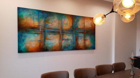 ציור גיאומטרי ריבה יחזקאל, ציור לסלון, ציורי אוירה, abstract painting, תמונה לסלון, ציורים לבית ולמשרד