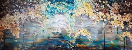 ציור פרחים צבעוניים, ציורים ריבה יחזקאל, ציורי אוירה, ציור היער הקסום, ציור לסלון מודרני, abstract painting, flowers paintings, ציור אבסטרקט