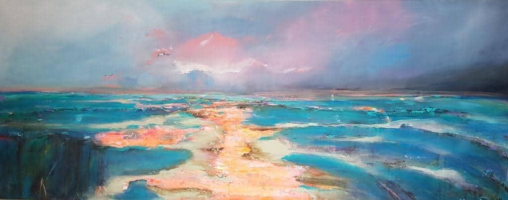 ציור ים, ריבה יחזקאל ציורי אוירה לסלון מודרני, תמונות לסלון, abstract painting, תמונה לבית למכירה, ציורים, תמונות, sea scape,
