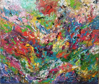 תמונות לסלון - ריבה יחזקאל, ציור לסלון מודרני, abstract painting, abstract art, ציור צבעוני וגדול למכירה