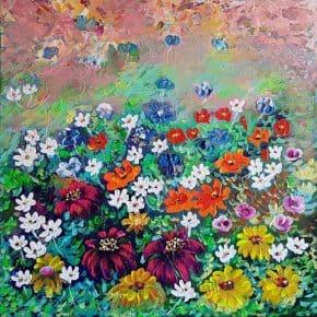 תמונות לסלון, ציור היער הקסום, ציורי אוירה ריבה יחזקאל, ציורים ותמונות לבית ולמשרד, ציור עצים צבעוניים, ריבה יחזקאל, פרחים צבעוניים, שדה פרחים