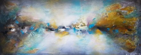 תמונות לסלון, ציורי אוירה, ציורים לסלון, ציור אבסטרקט, ציור בטורקיז ריבה יחזקאל, abstract painting, ציור ענק לסלון