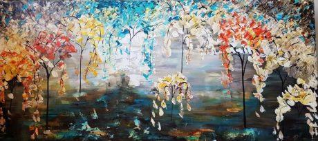 תמונות לסלון, ציור היער הקסום, ציורי אוירה ריבה יחזקאל, ציורים ותמונות לבית ולמשרד, ציור עצים צבעוניים, ריבה יחזקאל