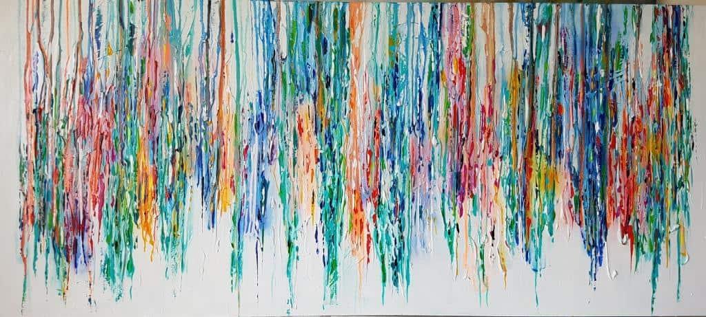תמונות לסלון ריבה יחזקאל, abstract painting, ציורים לסלון, ציור פסים צבעוניים על רקע לבן