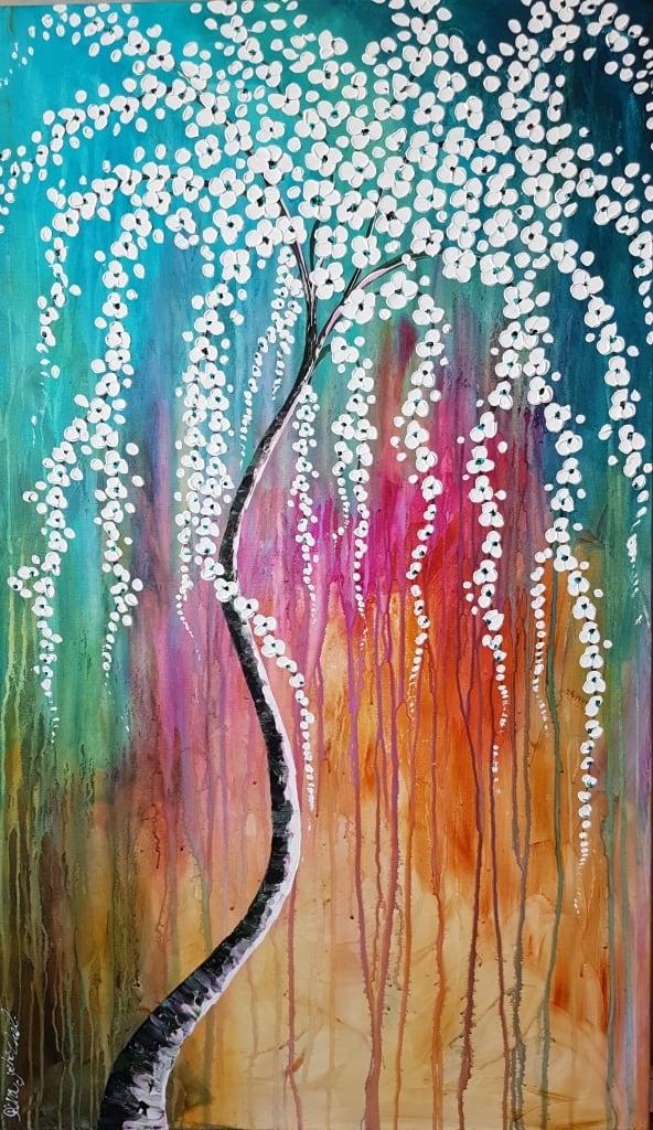 ציורים לסלון, תמונות לסלון, ציורי אוירה ריבה יחזקאל, ציור עץ, ציור עץ עם פרחים לבנים על רקע צבעוני, abstract painting