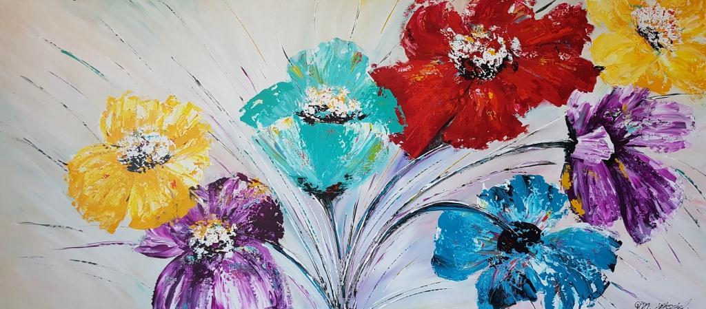 ציור פרחים צבעוניים על רקע לבן, ריבה יחזקאל, ציורי אוירה, תמונות לסלון, ציורים לסלון, ציור לסלון מודרני, ציור פרחים, abstract painting