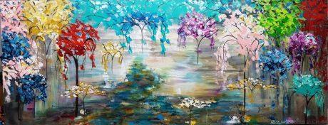 תמונות לסלון, ציורים לסלון, ציור לסלון מודרני, ציור היער הקסום, ציור שדרת עצים, abstract paintings, ציור עצים צבעוניים, ריבה יחזקאל