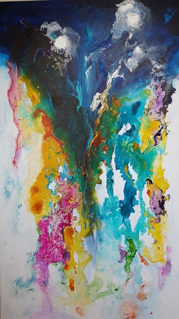 ציור אבסטרקט צבעוני, abstract painting, abstract art, ריבה יחזקאל, ציורי אוירה, ציורים לסלון, תמונות לסלון, ציור מודרני