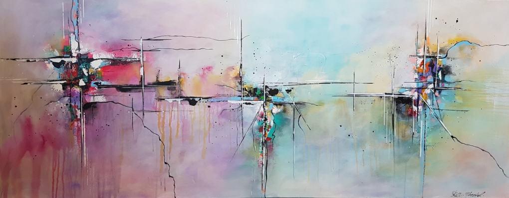ציורים לסלון, תמונות לסלון מודרני, ציורי אוירה ריבה יחזקאל, ציור מודרני אבסטרקט, abstract painting